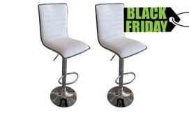 זוג כסאות בר מרופד דמוי עור