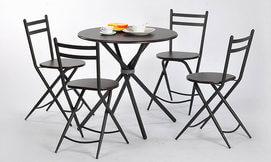שולחן עגול עם 4 כיסאות מתקפלים