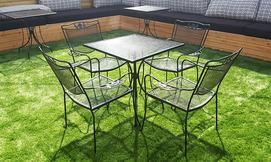 שולחן ברזל עם 4 כיסאות