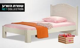 מיטת נוער מעץ מלא דגם שלגיה