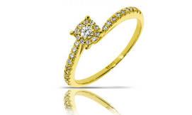 טבעת זהב 14K בשיבוץ יהלומים