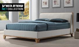 מיטה זוגית בשילוב עץ מלא